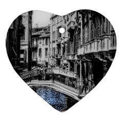 Vintage Venice Canal Heart Ornament (Two Sides)