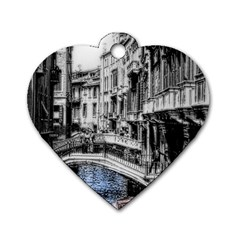 Vintage Venice Canal Dog Tag Heart (Two Sided)