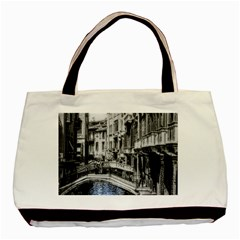 Vintage Venice Canal Twin-sided Black Tote Bag