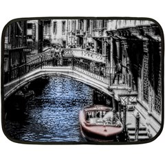 Vintage Venice Canal Mini Fleece Blanket (two Sided)
