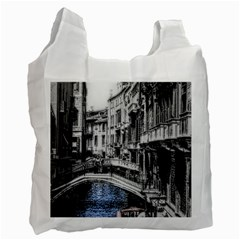Vintage Venice Canal White Reusable Bag (One Side)