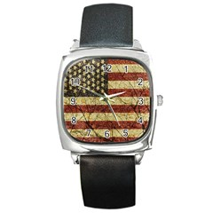 Vinatge American Roots Square Leather Watch