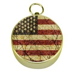 Vinatge American Roots Gold Compass