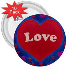 Love Theme Concept  Illustration Motif  3  Button (10 Pack)