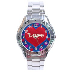 Love Theme Concept  Illustration Motif  Stainless Steel Watch