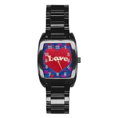 Love Theme Concept  Illustration Motif  Stainless Steel Barrel Watch