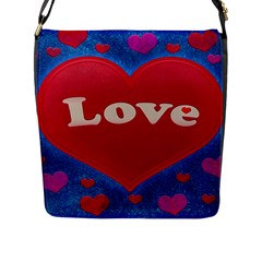 Love theme concept  illustration motif  Flap Closure Messenger Bag (Large)