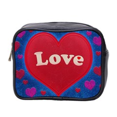 Love Theme Concept  Illustration Motif  Mini Travel Toiletry Bag (two Sides)