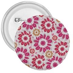 Feminine Flowers Pattern 3  Button