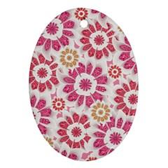 Feminine Flowers Pattern Oval Ornament