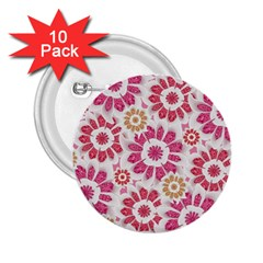 Feminine Flowers Pattern 2 25  Button (10 Pack)