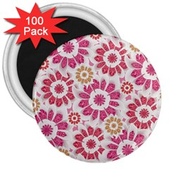 Feminine Flowers Pattern 3  Button Magnet (100 Pack)