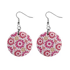 Feminine Flowers Pattern Mini Button Earrings