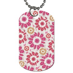 Feminine Flowers Pattern Dog Tag (two Sided)