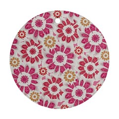 Feminine Flowers Pattern Round Ornament (two Sides)