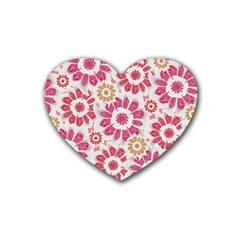 Feminine Flowers Pattern Drink Coasters (Heart)