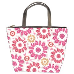 Feminine Flowers Pattern Bucket Handbag