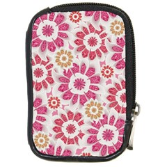 Feminine Flowers Pattern Compact Camera Leather Case
