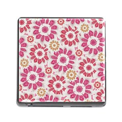 Feminine Flowers Pattern Memory Card Reader With Storage (square)