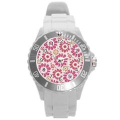 Feminine Flowers Pattern Plastic Sport Watch (Large)
