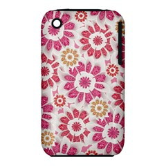 Feminine Flowers Pattern Apple iPhone 3G/3GS Hardshell Case (PC+Silicone)