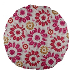 Feminine Flowers Pattern 18  Premium Round Cushion