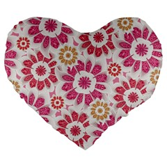 Feminine Flowers Pattern 19  Premium Heart Shape Cushion