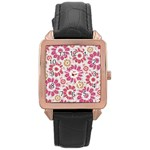 Feminine Flowers Pattern Rose Gold Leather Watch  Front