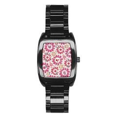 Feminine Flowers Pattern Stainless Steel Barrel Watch