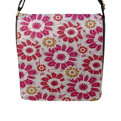 Feminine Flowers Pattern Flap Closure Messenger Bag (Large)