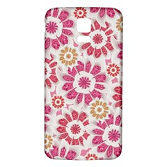 Feminine Flowers Pattern Samsung Galaxy S5 Back Case (White)