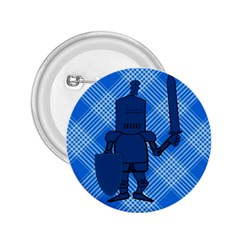 Blue Knight On Plaid 2 25  Button