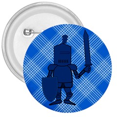 Blue Knight On Plaid 3  Button