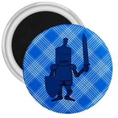 Blue Knight On Plaid 3  Button Magnet