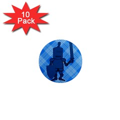 Blue Knight On Plaid 1  Mini Button Magnet (10 pack)