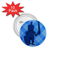 Blue Knight On Plaid 1.75  Button (10 pack)