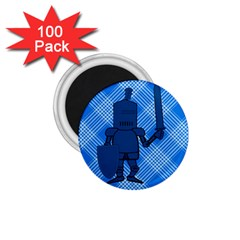 Blue Knight On Plaid 1 75  Button Magnet (100 Pack)