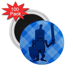 Blue Knight On Plaid 2.25  Button Magnet (100 pack)