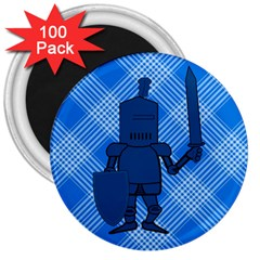 Blue Knight On Plaid 3  Button Magnet (100 pack)