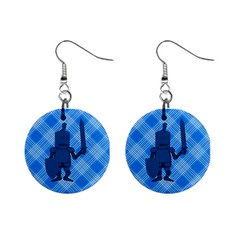 Blue Knight On Plaid Mini Button Earrings