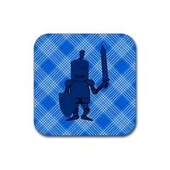 Blue Knight On Plaid Drink Coasters 4 Pack (Square)