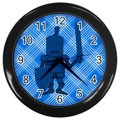 Blue Knight On Plaid Wall Clock (black)