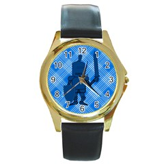 Blue Knight On Plaid Round Leather Watch (Gold Rim)