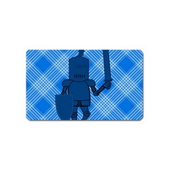 Blue Knight On Plaid Magnet (name Card)