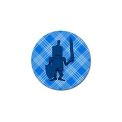 Blue Knight On Plaid Golf Ball Marker