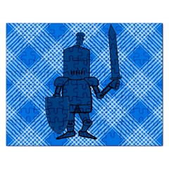 Blue Knight On Plaid Jigsaw Puzzle (Rectangle)