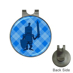 Blue Knight On Plaid Hat Clip With Golf Ball Marker