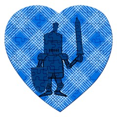 Blue Knight On Plaid Jigsaw Puzzle (Heart)