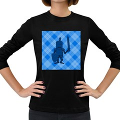 Blue Knight On Plaid Women s Long Sleeve T-shirt (Dark Colored)