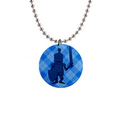 Blue Knight On Plaid Button Necklace